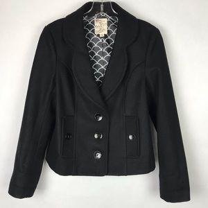 Tulle Anthropologie Black Three Button Blazer SzS